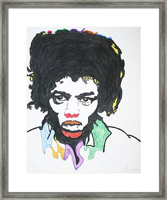 Framed Print featuring the painting Jimi Hendrix by Stormm Bradshaw