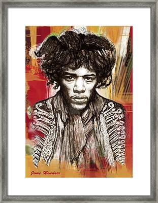 Jimi Hendrix Stylised Pop Art Drawing Potrait Poster Framed Print