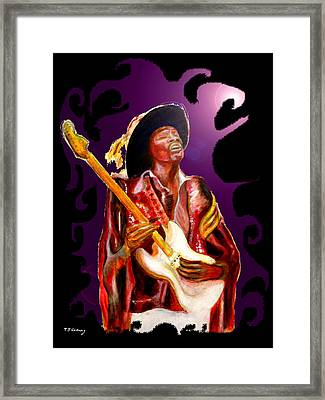 Jimi Hendrix Variations In Purple And Black Framed Print