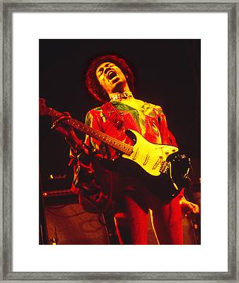 Jimi Henrix At The Isle Of Wight 1970 Framed Print by Chris Walter