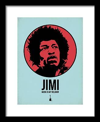Rock N Roll Music Jimi Hendrix Framed Prints