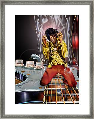 Jimi Up N Smoke - The Jimi Hendrix Series Framed Print by Reggie Duffie
