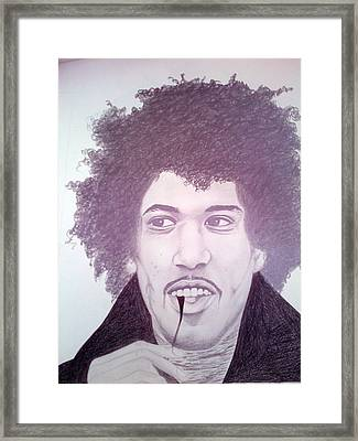 Jimmi Hendrix Framed Print by Aileen Carruthers