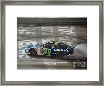 Jimmie Johnson Wins At Las Vegas Framed Print by Paul Kuras