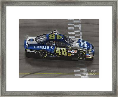 Jimmie Johnson Wins Framed Print by Paul Kuras