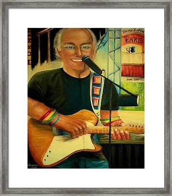 Jimmy Buffett In Paris Framed Print by Bernadette Krupa