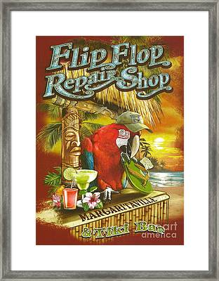 Jimmy Buffett's Flip Flop Repair Shop Framed Print by Desiderata Gallery