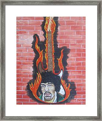 Framed Print featuring the painting Jimmy Hendrix And Guitar by Jeepee Aero