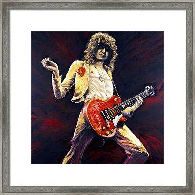 Jimmy Page Achilles Last Stand Framed Print by Mike Underwood