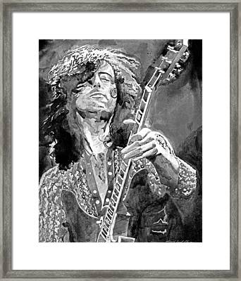 Jimmy Page Mono Framed Print by David Lloyd Glover