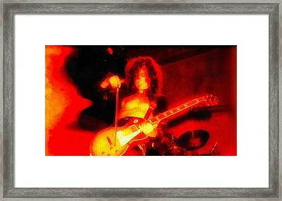 Jimmy Page On Fire Framed Print by Dan Sproul