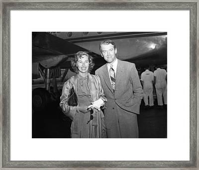 Jimmy Stewart And Wife Framed Print