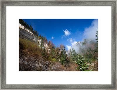 Jiuzhaigou Mountain Pinnacle Landscape China Framed Print