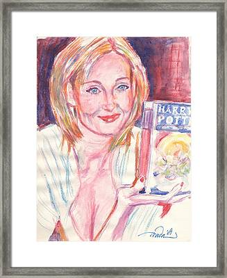 Jk Rowling Happy Framed Print by Horacio Prada