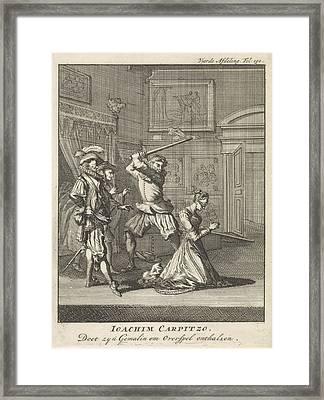 Joachim Von Carpzov Orders His Wifes Beheading Framed Print by Jan Luyken