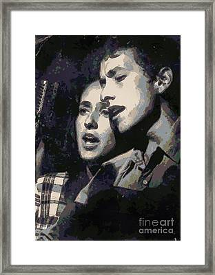 Joan Baez And Bob Dylan Framed Print by Paulette B Wright