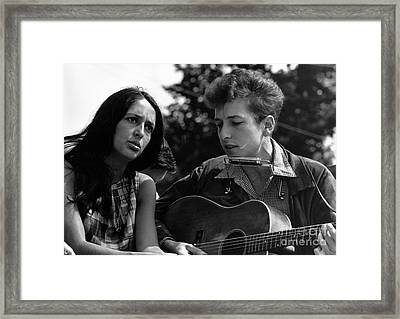 Joan Baez With Bob Dylan Framed Print by Celestial Images