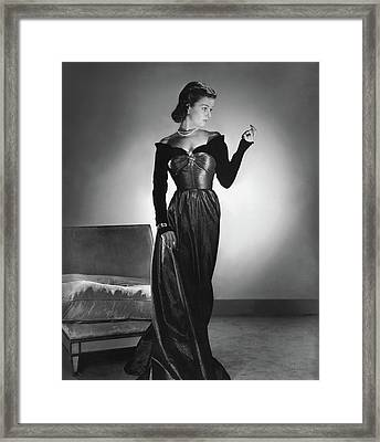 Joan Bennett Wearing A Velvet Dress Framed Print by Horst P. Horst