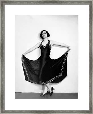 Joan Crawford, In A Black Satin Gown Framed Print by Everett