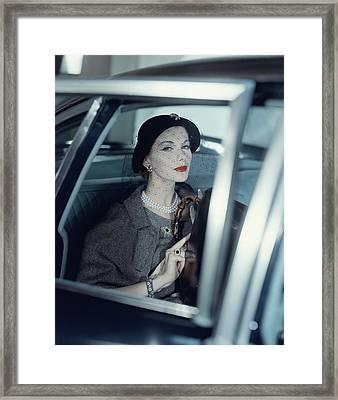 Joan Friedman In A Car Framed Print by Clifford Coffin