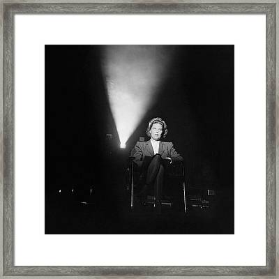 Joan Harrison In A Dark Cinema Framed Print