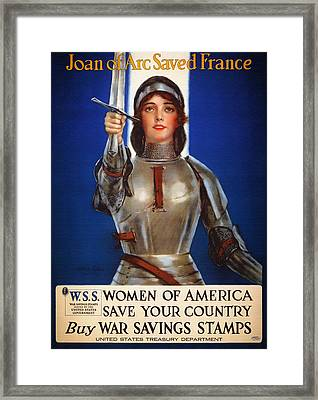 Joan Of Arc War Stamps Poster 1918 Framed Print by Mountain Dreams