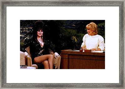 Joan Rivers And Elvira Framed Print by Brian Benjamin