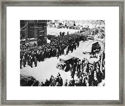 Job Seekers Rush Brewery Framed Print by Underwood Archives