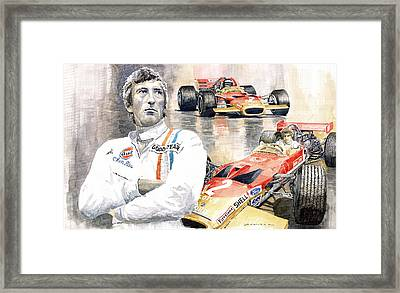 Jochen Rindt Golden Leaf Team Lotus Lotus 49b Lotus 49c Framed Print by Yuriy  Shevchuk