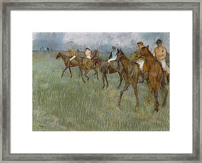 Jockeys In The Rain, 1886 Framed Print
