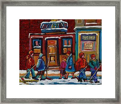 Joe Beef Restaurant And Boys With Hockey Sticks Framed Print by Carole Spandau