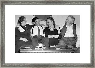 Joe Dimaggio, Wife, & Parents Framed Print by Underwood Archives
