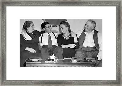 Joe Dimaggio, Wife, & Parents Framed Print