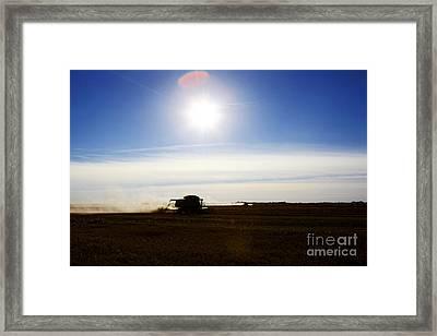 Joe Fox Fine Art - Bringing In The Harvest On The Prairies Of Saskatchewan Framed Print by Joe Fox