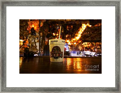 Joe Fox Fine Art - Cocktail Drink On The Bar Of Captain Tonys Sa Framed Print by Joe Fox