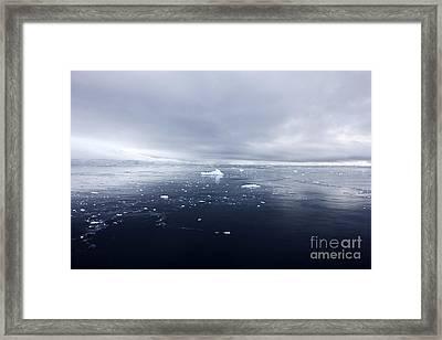Joe Fox Fine Art - Floating Ice And Snow Covered Landscape In Fournier Bay Antarctica Framed Print by Joe Fox