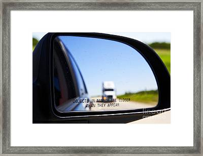 Joe Fox Fine Art - Objects In Mirror Are Closer Than They Appear With Following Semi Truck On Canadian Highway Framed Print by Joe Fox