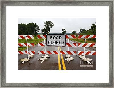 Joe Fox Fine Art - Road Closed Due To Floods In Iowa Usa Framed Print by Joe Fox