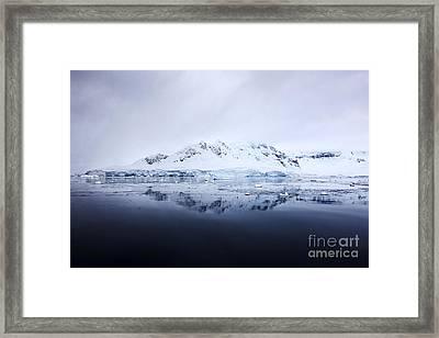 Joe Fox Fine Art - Snow Covered Fournier Bay In Anvers Island Antarctica Framed Print by Joe Fox