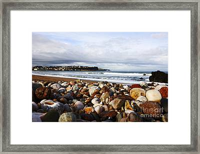 Joe Fox Fine Art - Stones And Rocks Worn Smooth By Wave Action On A Shingle Beach Ballycastle Northern Ireland Framed Print by Joe Fox