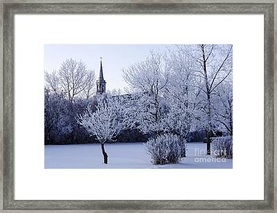 Joe Fox Fine Art - Thick Hoar Frost In Churchyard During Winter Forget Saskatchewan Canada Framed Print by Joe Fox
