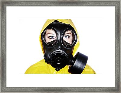 Joe Fox Fine Art - Woman Wearing Gas Mask And Protective Clothing Framed Print by Joe Fox