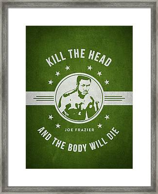 Joe Frazier - Green Framed Print by Aged Pixel