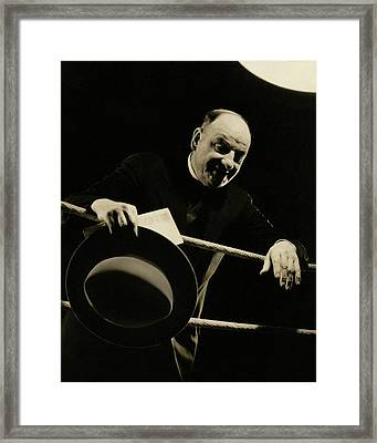 Joe Humphreys Leaning Over The Ropes Of A Boxing Framed Print by Anton Bruehl