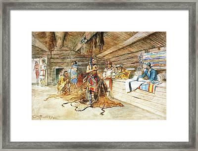 Joe Kipps Trading Camp Framed Print by Charles Russell