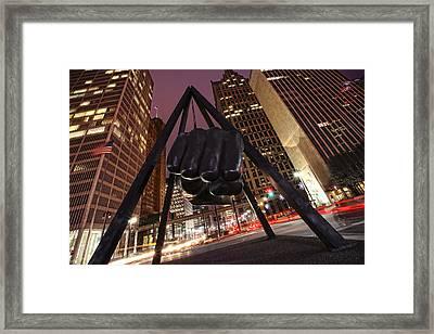 Joe Louis Fist Statue Detroit Michigan Night Time Shot Framed Print by Gordon Dean II