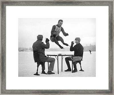 Joe Moore Olympics Training Framed Print by Underwood Archives