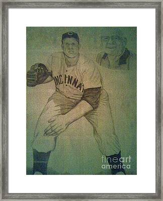 Framed Print featuring the drawing Joe Nuxhall by Christy Saunders Church