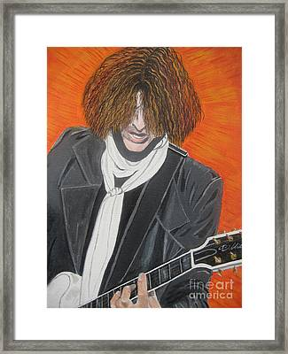 Joe Perry On Guitar Framed Print by Jeepee Aero