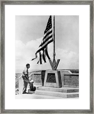 Joe Rosenthal On Iwo Jima Framed Print by Underwood Archives